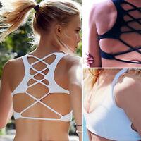 Sexy Womens Cross Strappy Bra Tank Tops Bustier Vest Crop Top Bralette Blouse UK