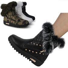 Damen Stiefel gefüttert Stiefeletten Boots Schnee Camouflage Nieten neu ST608