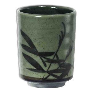 "Japanese Mug 4""H Tea Cup Porcelain MASHIKO SASA Bamboo Leaves/ Made in Japan"