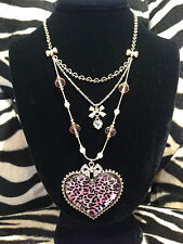 NWT Betsey Johnson Pink Leopard Heart and Bow Necklace with Crystals in Gift Box