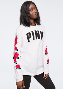 NWT VICTORIA'S SECRET PINK LONG SLEEVE CAMPUS CREW SHIRT ROSE ARM GRAPHICS SMALL