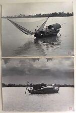 2 Photos 尼采 nícǎi - Pêche - Chine China - Tirages argentique 1950 - 30 x 40 -