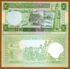 Syria, 5 pounds, 1991, Pick 100 (100e), UNC > Cotton Picking, Textile