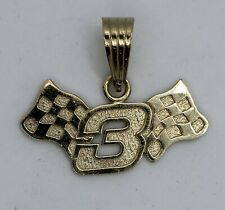 10K Yellow Gold DALE EARNHARDT #3 with Racing Flags Pendant (1.88g)