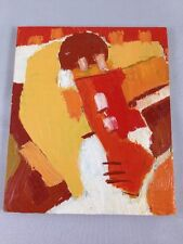 Small Red Abstract Painting - Oil on Board - Philadelphia Artist Andrew Conti