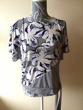 Principles Womens Top Size 12 Navy Blue Mix Floral Short Sleeved Tie Side