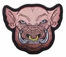PIG / HOG HEAD W NOSE RING PATCH P4080 NEW jacket BIKER EMBROIDERIED BIKEnew