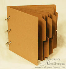 """5.5""""x5.75"""" Mini Tabbed Chipboard Album 10 pages 3 rings - use 6x6 paper pads!"""