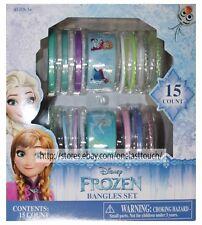 15pc*BANGLES SET Bracelet Accessories DISNEY FROZEN Girls ROUND PLASTIC New! 1/9