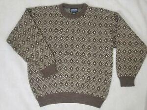 Jantzen Classics Sweater Men's Large Brown Crean Diamond Pattern