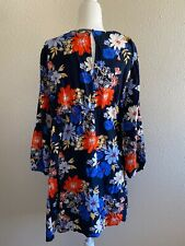 EXCELLENT COND. OLD NAVY MATERNITY Blue Long Sleeve Flowered dress. SZ XL