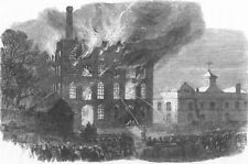 DEVON. fire at Candle Factory, Coxside, Plymouth, antique print, 1866