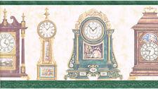Victorian Antique Vintage Clocks Retro Wallpaper Border Green Trim