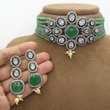 Bollywood Gold Plated Jewelry Indian Kundan CZ Choker Pearl Bridal Necklace Sets