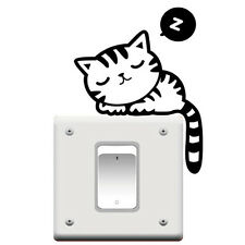 Cute Cat Nap Pet Light Switch Funny Wall Decal Vinyl Stickers Black x2