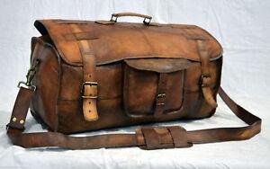 Men's Leather Handmade Vintage Duffel Luggage Weekend Overnight Travel Bag