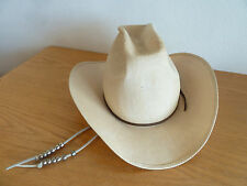 The Bulldozer Gen. Risa Straw Western Hat  Leather Strap Silver Beads 7 1/8