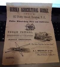 Civil War Era Adv. Broadside Farm Machinery Threshing Plows Eureka Trenton NJ