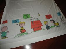 VINTAGE PEANUTS TOO KNOW ME SNOOPY CHARLIE BROWN BLUE FLAT TWIN XL SHEET 66X104