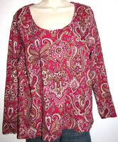 Charter Club Woman Pima Cotton Long Sleeve Paisley Stretch Top Plus Size 1X