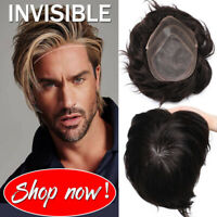 100% Virgin Human Mans Toupee wigs Replacement System Hairpiece NPU/MONO/LACE US