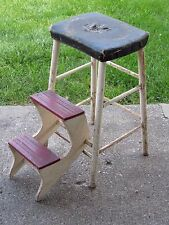 Vintage Kitchen Step Stool General Wood Original Red & White Paint Patina