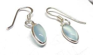 Handmade 925 Sterling Silver Aqua Chalcedony Marquise Drop Earrings 29 x 7mm Bag