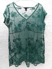 H&M emerald green lace women's shirt romantic vintage floral
