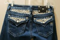 Miss Me Signature Boot Denim Distressed Jeans Size 27 Rise 7.5 Waist 14.5=29X34