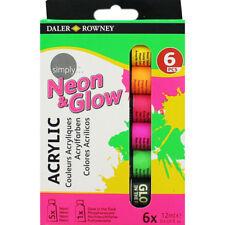 Daler Rowney Neon & Glow Acrylique Couleurs 6x12 ml Tubes Set