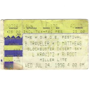 BLUES TRAVELER & DAVE MATTHEWS BAND Concert Ticket Stub PHOENIX 7/24/96 Rare