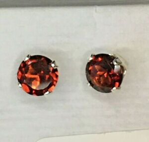 Garnet Earrings in Sterling Silver 4 Prong Setting 6mm matched stones January