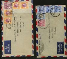 Singapore   2  airmail  covers  to   US       MS1125
