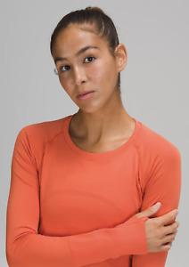 Lululemon Size 4 Swiftly Shirt Long Sleeve 2.0 Orange New