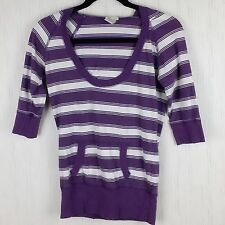 Maurices Womens Top Medium Purple White Striped Hooded 3/4 Sleeve Top  F35