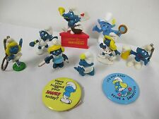 VINTAGE SMURF FIGURES BIRTHDAY SLEEP WALKING  NURSE SMURFETTE BUTTON PINS BADGE