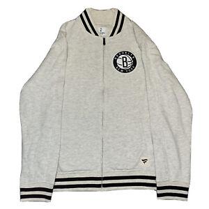 Fanatics Brooklyn Nets Full Zip Stitched Varsity Sweater Size Large
