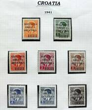 CROATIA 1941 SET OF 8 VALUES OVERPRINTED MUH STAMPS - N.D.HRVATSKA
