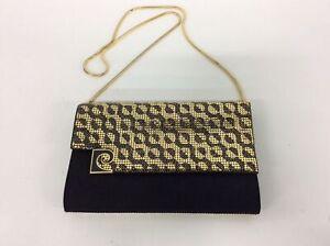 Pierre Cardin Black and Gold Crossbody Bag #544