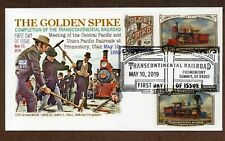 2019 TRANSCONTINENTAL RAILROAD - 3 STAMPS ON ENVELOPE - GLEN CACHET FDC