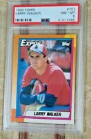 Larry Walker 1990 Topps #757 Rookie Card RC PSA 8 NM MINT HOF Expos Baseball