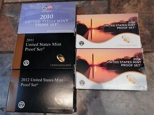 2010 2011 2012 2013 & 2014 US PROOF SETS IN ORIGINAL PACKAGING 5 SET COLLECTION