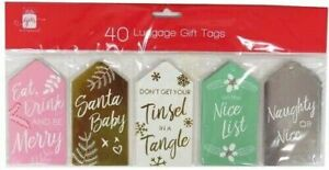 Giftmaker Christmas Large Luggage Style Gift Tags - Contemporary Foiled, 40 Pack