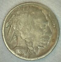 1923 S US Buffalo Five 5 Cent Coin Copper Silver Fine