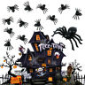 50X Plastic Black Spider Trick Toys Party Halloween Haunted House Prop Decor NEW