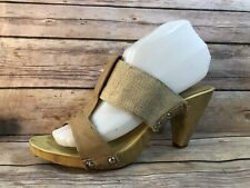 PILAR ABRIL Brown Wooden Studded Open Toe Sandals Shoes Heels