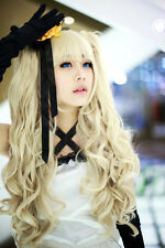 Vocaloid / seeU Blonde cosplay long curly wig + 2 clip on ponytail