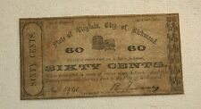 Antique State Of Virginia, City Of Richmond, Obsolete 60 Cent Note