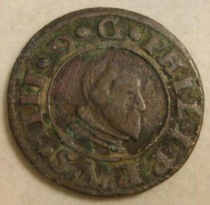 1663 Spain 16 Maravedis Copper Coin Philip IIII