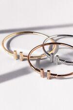 Fashion Lady Rhinestone Titanium Steel T Bracelet Open Cuff Bangle